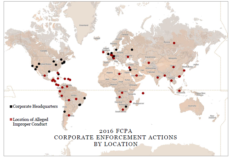 2016 FCPA CORPORATE ENFORCEMENT ACTIONS BY LOCATION