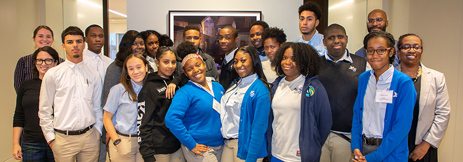 The students of Cristo Rey Brooklyn visit the Paul, Weiss New York office for a day-long conference with Street Law, Inc.