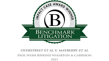 "Paul, Weiss Receives <em>Benchmark Litigation</em>'s ""Impact Case Award"""